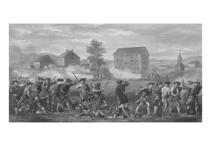 Minutemen Greeting Card featuring the drawing The Battle Of Lexington by War Is Hell Store
