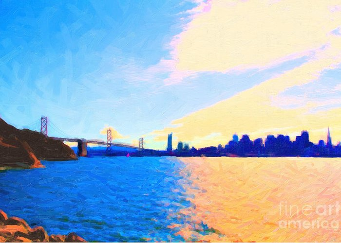 San Francisco Greeting Card featuring the photograph The Bay Bridge And The San Francisco Skyline by Wingsdomain Art and Photography