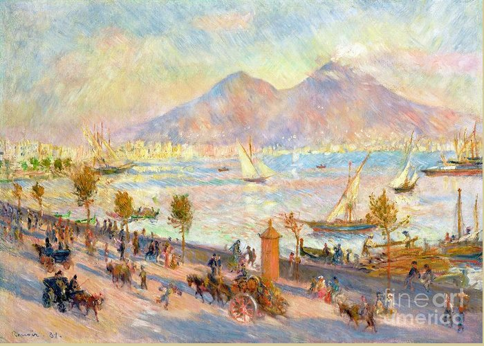 The Bay Of Naples With Vesuvius In The Background Greeting Card featuring the painting The Bay Of Naples With Vesuvius In The Background by Pierre Auguste Renoir