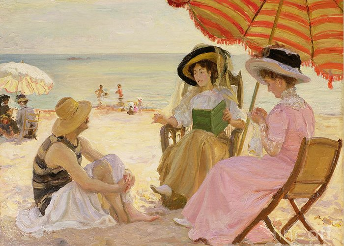 The Greeting Card featuring the painting The Beach by Alfred Victor Fournier