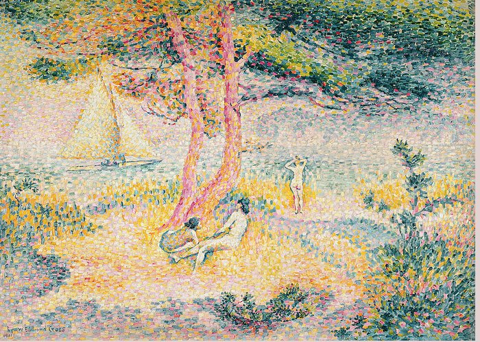 The Beach At St. Clair Greeting Card featuring the painting The Beach At St Clair by Henri-Edmond Cross