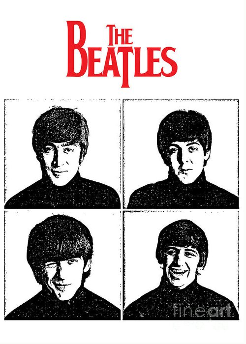The Beatles Greeting Card featuring the digital art The Beatles No.12 by Caio Caldas