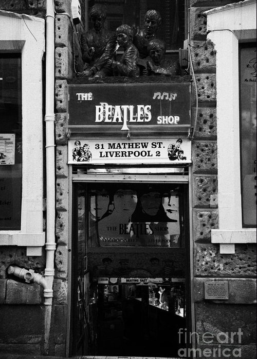 Mathew Greeting Card featuring the photograph The Beatles Shop In Mathew Street In Liverpool City Centre Birthplace Of The Beatles Merseyside by Joe Fox