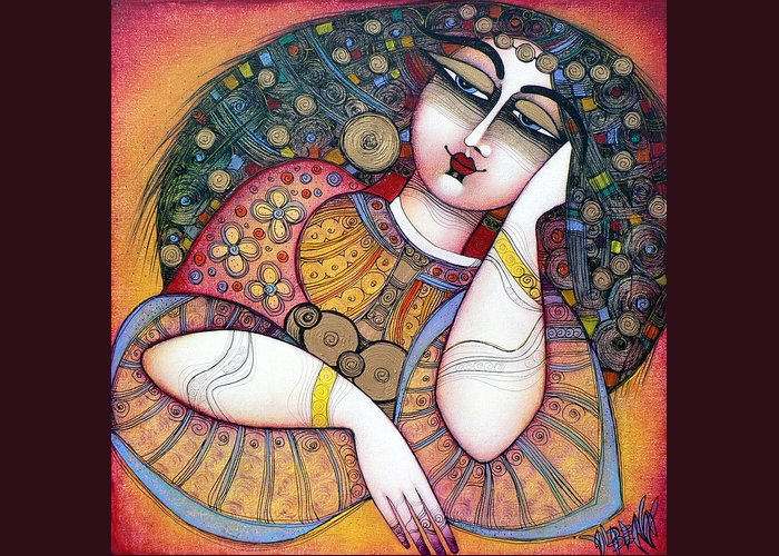 Art Greeting Card featuring the painting The Beauty by Albena Vatcheva