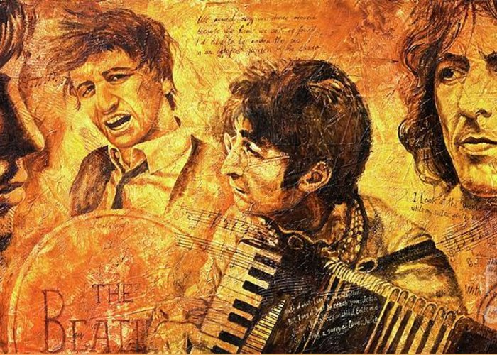 The Beatles Greeting Card featuring the painting The Best Forever by Igor Postash