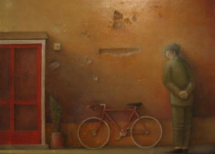 Greeting Card featuring the painting The Bicycle by Alfredo DeCurtis