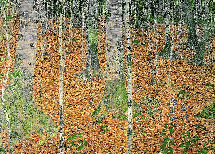 The Greeting Card featuring the painting The Birch Wood by Gustav Klimt