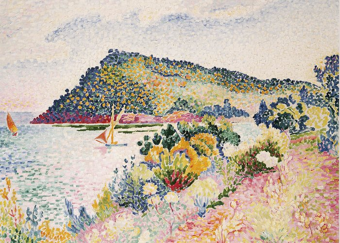 The Black Cape Greeting Card featuring the painting The Black Cape Pramousquier Bay by Henri-Edmond Cross