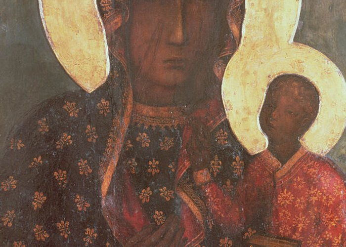 The Greeting Card featuring the painting The Black Madonna Of Jasna Gora by Russian School
