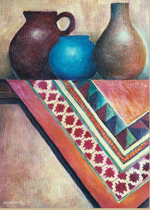 Jars Greeting Card featuring the painting The Blue Jar IIi by Jun Jamosmos