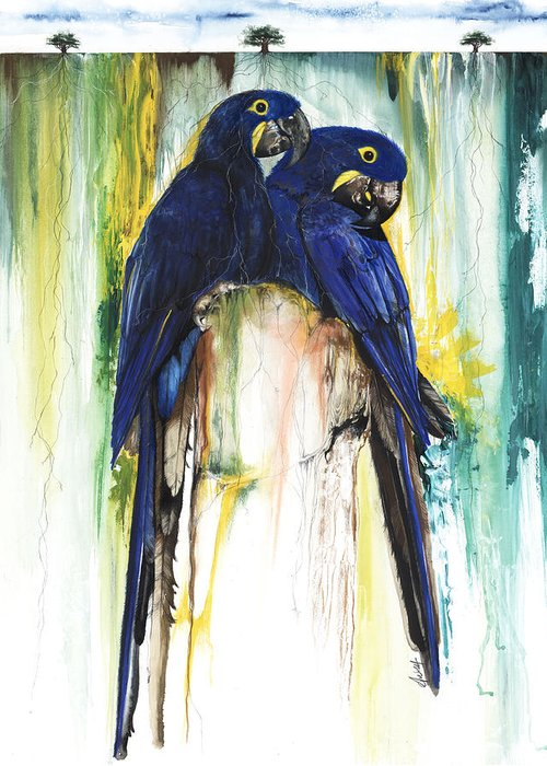 Animals Greeting Card featuring the mixed media The Blue Parrots by Anthony Burks Sr