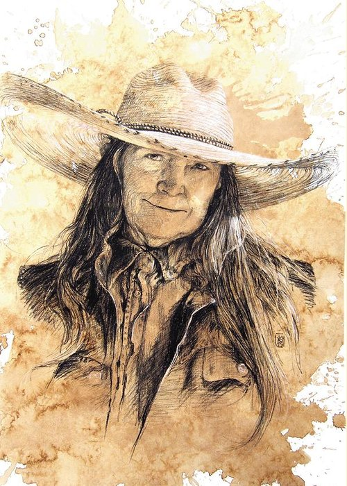 Cowboy Art Greeting Card featuring the drawing The Boss by Debra Jones