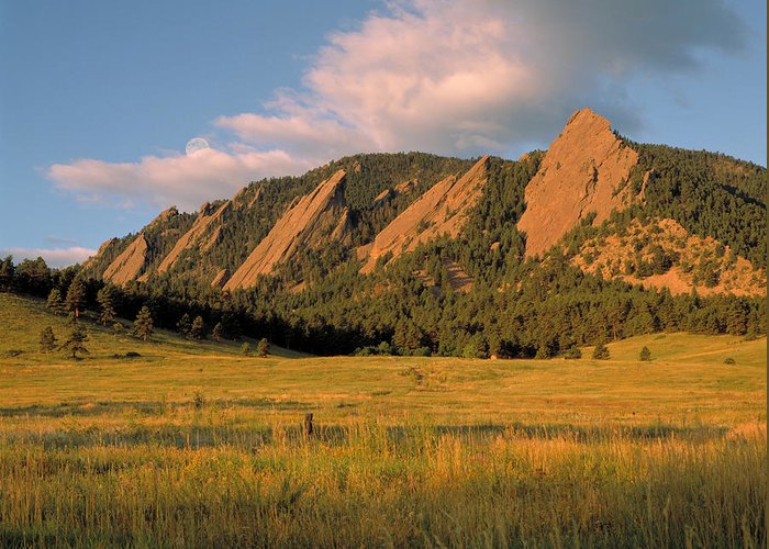 Boulder Greeting Card featuring the photograph The Boulder Flatirons by Jerry McElroy