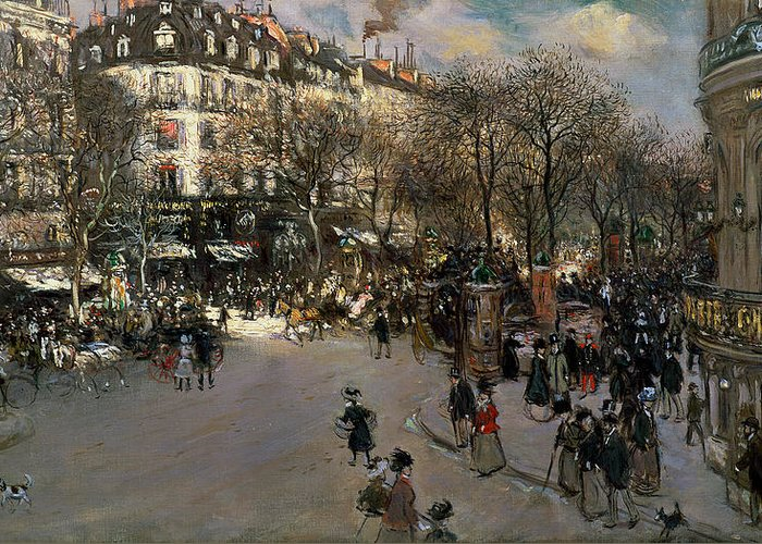 The Greeting Card featuring the painting The Boulevard Des Italiens by Jean Francois Raffaelli