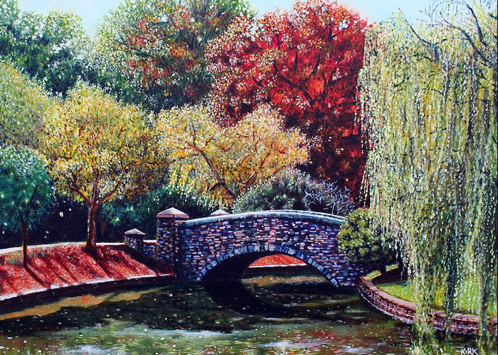 Painting Greeting Card featuring the painting The Bridge At Freedom Park by Jerry Kirk