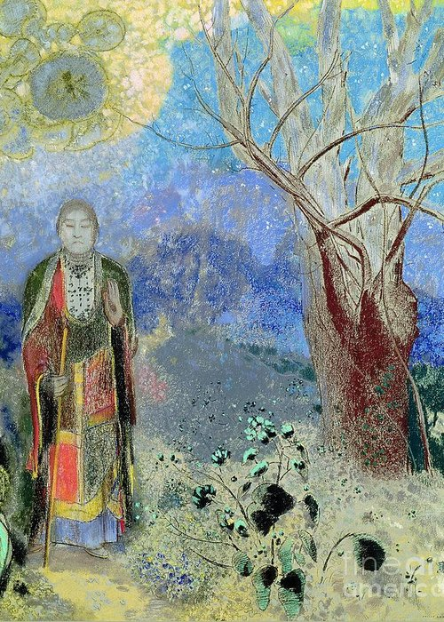 The Greeting Card featuring the painting The Buddha by Odilon Redon