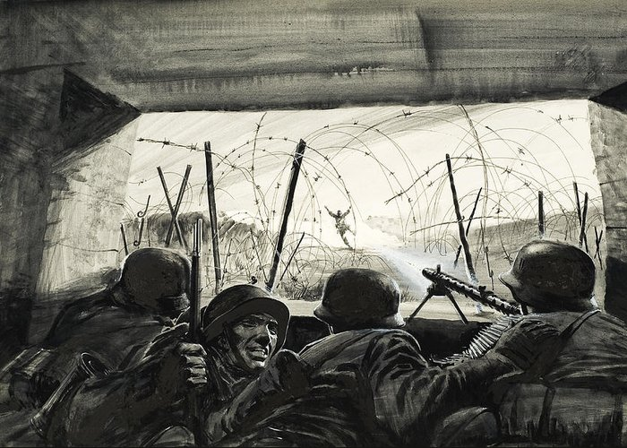 Barbed Wire; Machine Gun; Warfare; Fighting; Fear; Bravery; Soldiers; Ammunition; Uniform; Explosion; Gunfire; Second; Two Greeting Card featuring the painting The Bunker by Graham Coton