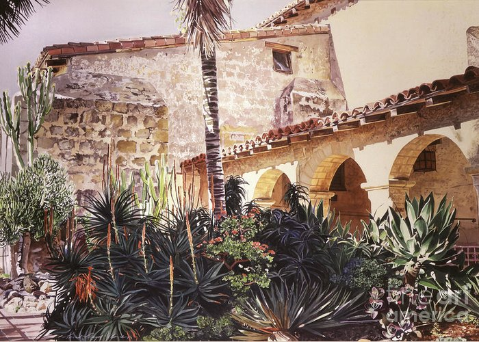 Watercolor Greeting Card featuring the painting The Cactus Courtyard - Mission Santa Barbara by David Lloyd Glover