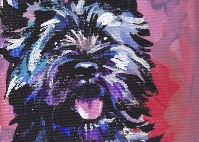 Cairn Terrier Greeting Card featuring the painting The Caring Cairn by Lea S