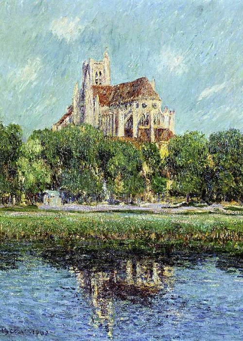 The Cathedral At Auxerre Greeting Card featuring the painting The Cathedral At Auxerre by Gustave Loiseau