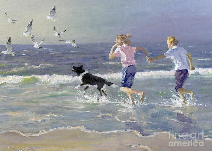 Seaside; Children; Playing; Male; Female; Girl; Boy; Paddling; Pet Dog; Seagulls; Seashore; Sea; Beach; Summer; Holiday; Vacation; Fun; Holding Hands; Splashing; Coastal; Coast; Running; Seagull; Sand; Wave; Waves; Barefoot Greeting Card featuring the painting The Chase by William Ireland