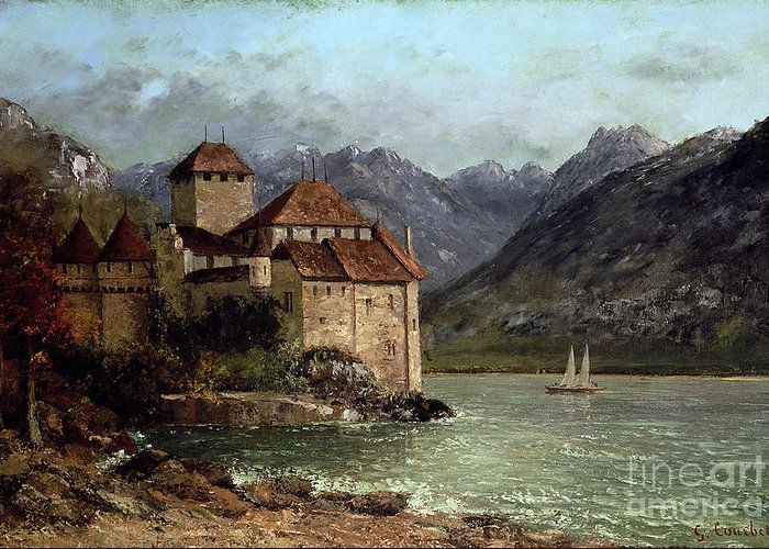 The Greeting Card featuring the painting The Chateau De Chillon by Gustave Courbet