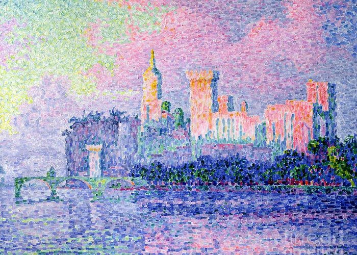 The Chateau Des Papes Greeting Card featuring the painting The Chateau Des Papes by Paul Signac