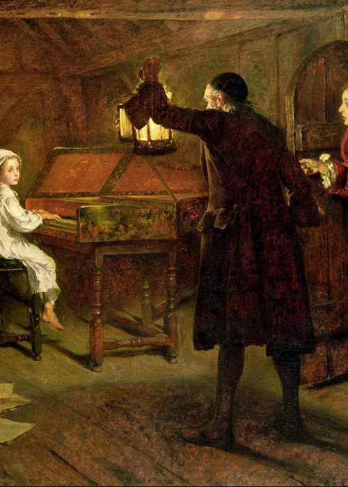 The Child Handel Greeting Card featuring the painting The Child Handel Discovered By His Parents by Margaret Isabel Dicksee