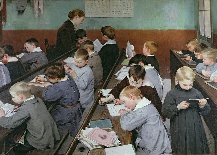 The Greeting Card featuring the painting The Children's Class by Henri Jules Jean Geoffroy