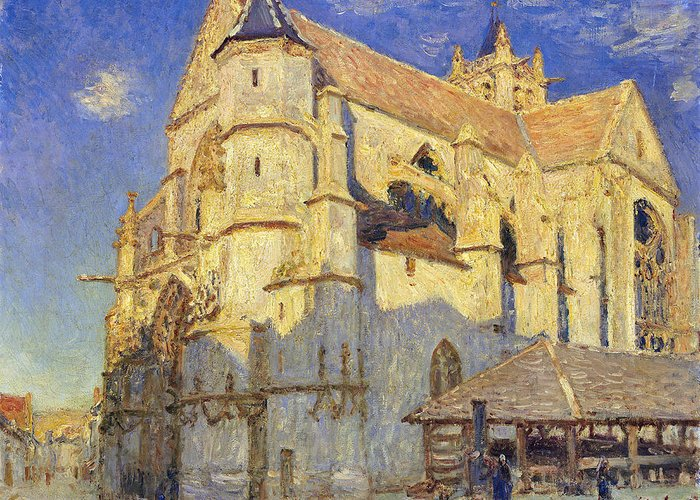 The Church At Moret Greeting Card featuring the painting The Church At Moret by Alfred Sisley