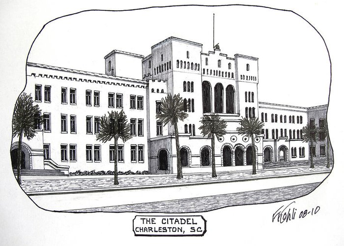 Pen And Ink College Buildings Drawings Greeting Card featuring the drawing The Citadel by Frederic Kohli