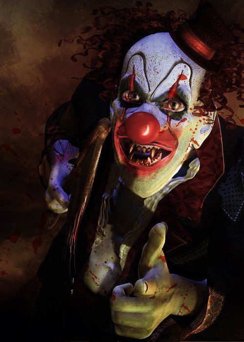 Horror Greeting Card featuring the digital art The Clown by Mary Hood