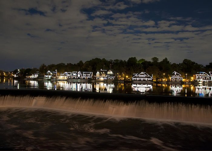 The Colorful Lights Of Boathouse Row Greeting Card featuring the photograph The Colorful Lights Of Boathouse Row by Bill Cannon