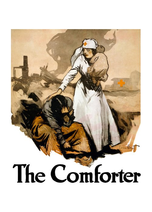Ww1 Greeting Card featuring the painting The Comforter by War Is Hell Store