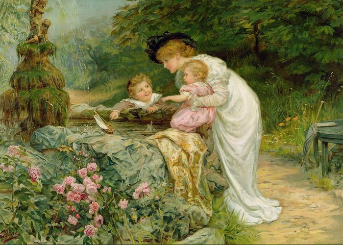 Quaint Greeting Card featuring the painting The Coming Nelson by Frederick Morgan