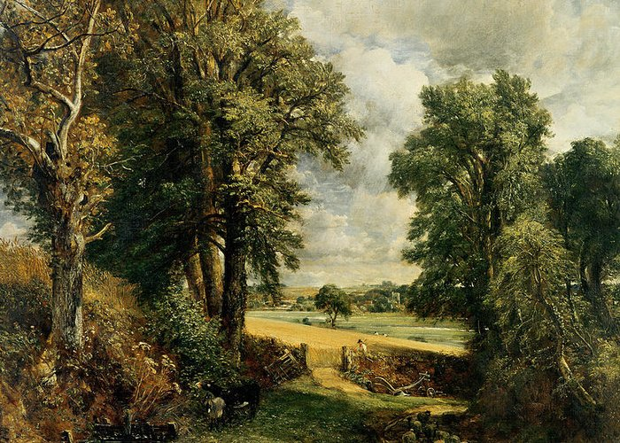 The Greeting Card featuring the painting The Cornfield by John Constable