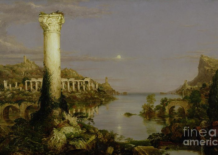 Moonlit Landscape; Classical; Architecture; Ruin; Ruins; Desolate; Bridge; Column; Hudson River School; Moon Greeting Card featuring the painting The Course Of Empire - Desolation by Thomas Cole