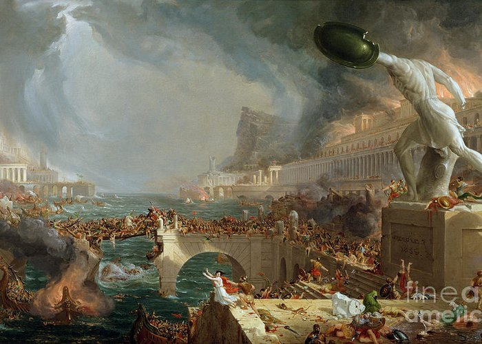 Destroy; Attack; Bloodshed; Soldier; Ruin; Ruins; Shield; Monument; Bridge; Classical Architecture; Galleon; Barbarian; Barbarians; Possibly Fall Of Rome; Hudson River School; Statue Greeting Card featuring the painting The Course Of Empire - Destruction by Thomas Cole