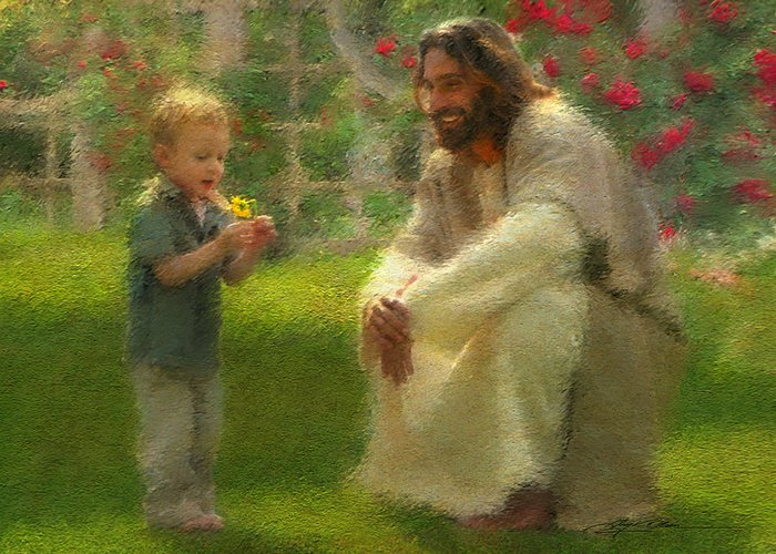Jesus Greeting Card featuring the painting The Dandelion by Greg Olsen