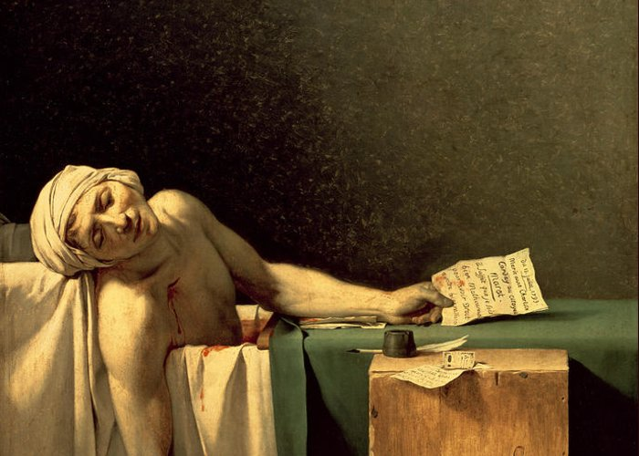 The Greeting Card featuring the painting The Death Of Marat by Jacques Louis David
