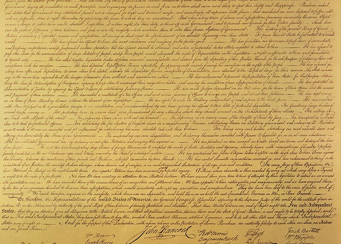 Declaration Of Independence Of The 13 United States Of America Of 1776 Greeting Card featuring the painting The Declaration Of Independence by Founding Fathers