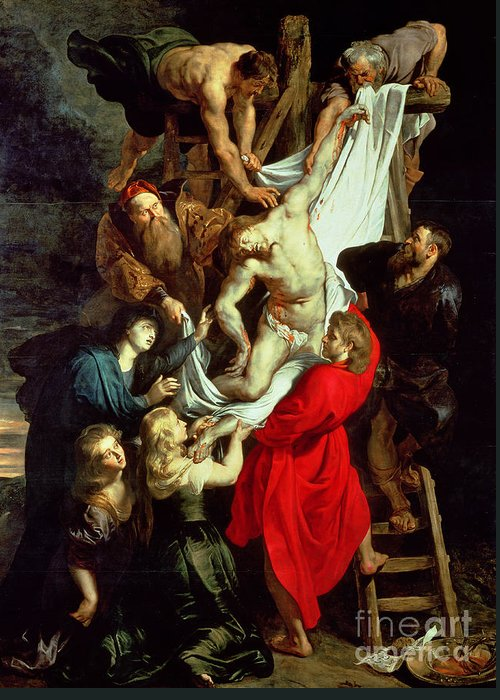 The Descent From The Cross Greeting Card featuring the painting The Descent From The Cross by Peter Paul Rubens