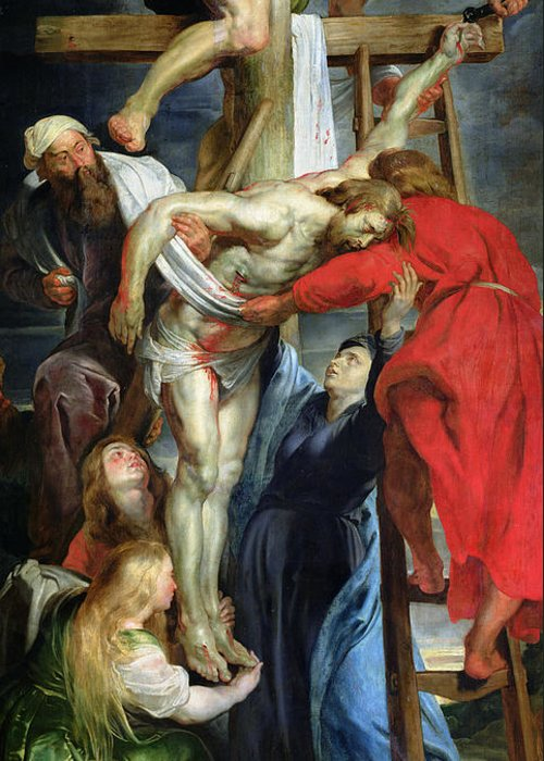 The Descent From The Cross Greeting Card featuring the painting The Descent From The Cross by Rubens