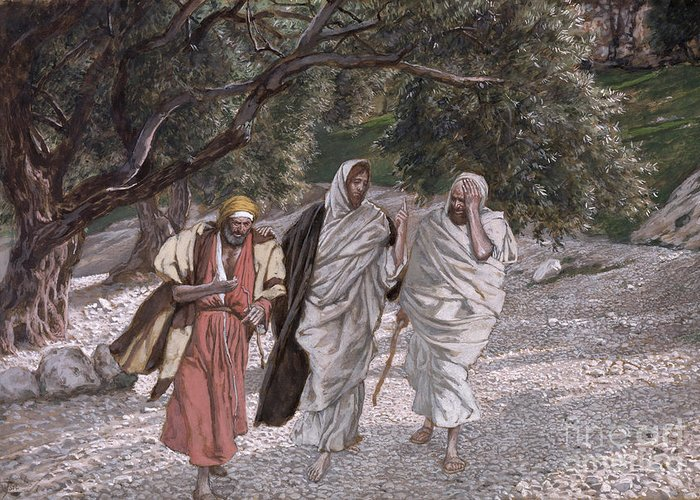 The Greeting Card featuring the painting The Disciples On The Road To Emmaus by Tissot