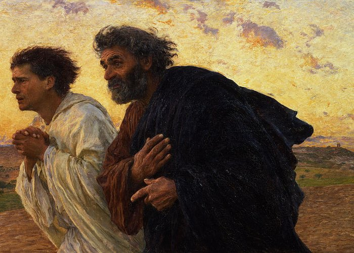 The Greeting Card featuring the painting The Disciples Peter And John Running To The Sepulchre On The Morning Of The Resurrection by Eugene Burnand