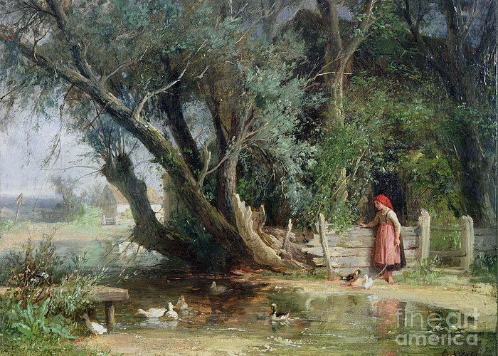 The Duck Pond By Eduard Heinel (1835-95) Greeting Card featuring the painting The Duck Pond by Eduard Heinel