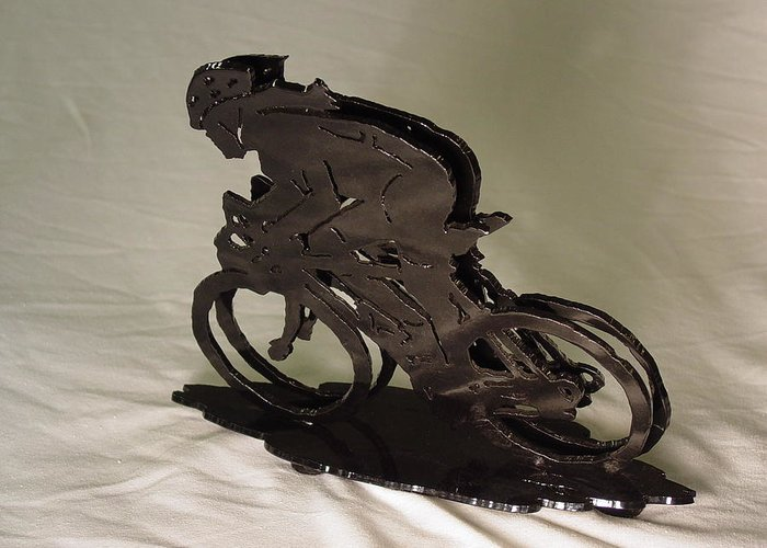 Bicycle Greeting Card featuring the sculpture The Duel by Steve Mudge