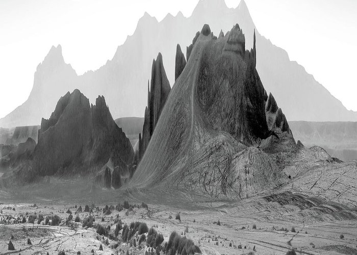 Mountains Greeting Card featuring the digital art The Edge by Mike McGlothlen