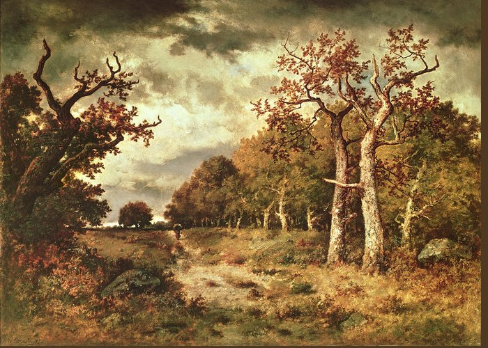 The Greeting Card featuring the painting The Edge Of The Forest by Narcisse Virgile Diaz de la Pena