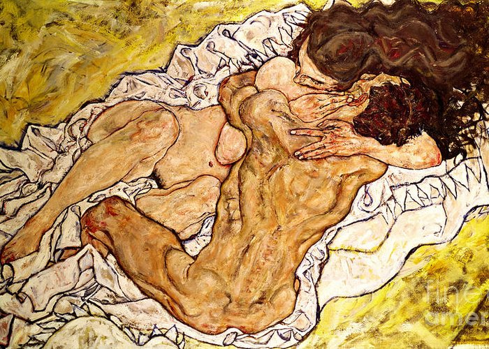 The Greeting Card featuring the painting The Embrace by Egon Schiele